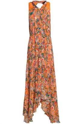 Saloni Pleated Floral-Print Silk Crepe De Chine Midi Dress