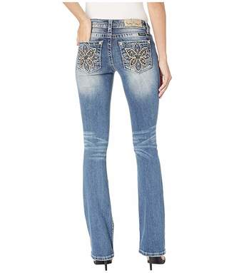 Miss Me Butterfly Embellished Bootcut Jeans in Medium Blue