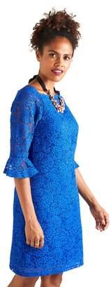 Yumi Blue Strapless Lace 'Harlow' Mini Shift Dress