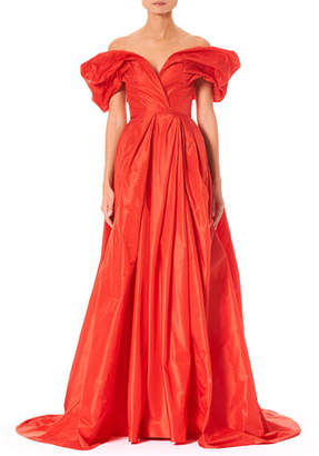 Carolina Herrera Off-the-Shoulder Ruched-Sleeve Full Evening Gown