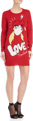 Love Moschino Graphic Long Sleeve Sweater Dress
