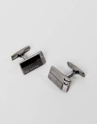 Ted Baker bassse crystal cufflinks in gunmetal