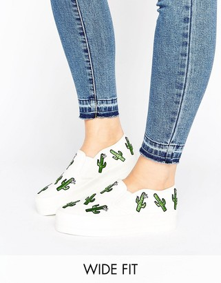 ASOS DESERT Wide Fit Cactus Patch Sneakers $40 thestylecure.com