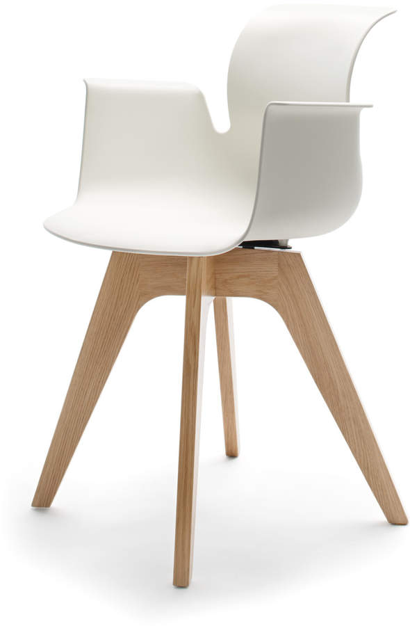 Flötotto Systemmöbel GmbH Flötotto - Pro 6 Armlehnstuhl, Viersternholzgestell, Eiche klar lackiert / Weiß