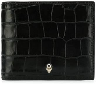 Alexander McQueen crocodile-embossed skull wallet