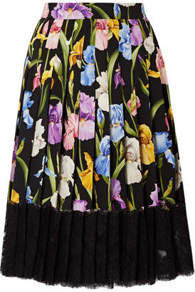 Dolce & Gabbana Lace-trimmed Pleated Floral-print Silk-blend Midi Skirt - Black