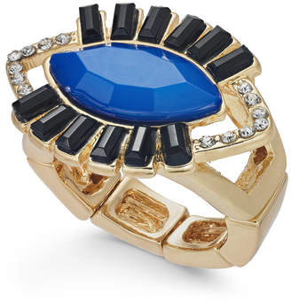 Thalia Sodi Gold-Tone Crystal & Stone Evil-Eye Stretch Ring