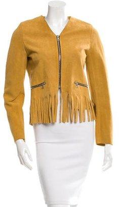 Sandro Collarless Fringe-Trimmed Jacket $240 thestylecure.com