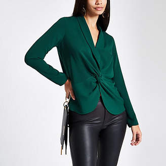 River Island Green twist front long sleeve blouse