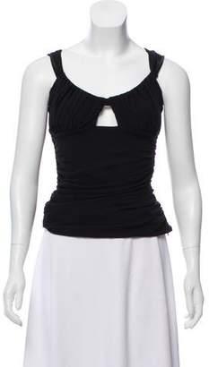 Versace Silk-Blend Sleeveless Crop Top