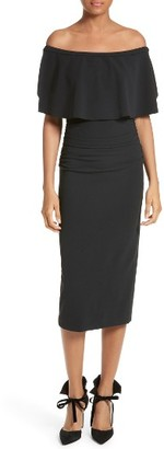 Women's Tracy Reese Flounce Off The Shoulder Midi Dress $298 thestylecure.com