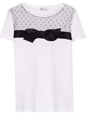 RED Valentino Bow-Embellished Point D'esprit-Paneled Cotton-Jersey T-Shirt