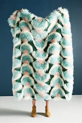 Anthropologie Juniper Faux Fur Throw Blanket