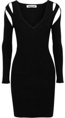 McQ Cutout Ribbed-Knit Mini Dress