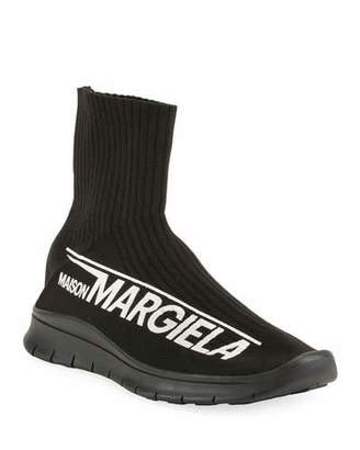 Maison Margiela Men's Logo-Knit High Sock Sneakers
