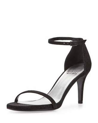 Stuart Weitzman Naked Leather Low-Heel Sandal, Black $425 thestylecure.com