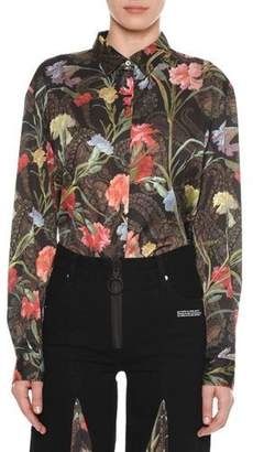 Off-White Long-Sleeve Button-Down Floral-Print Blouse