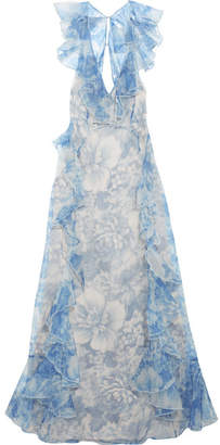 Alice McCall Oh My Goddess Open-back Ruffled Floral-print Silk-organza Gown - Blue