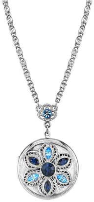 2028 Silver Tone Blue Round Locket Necklace