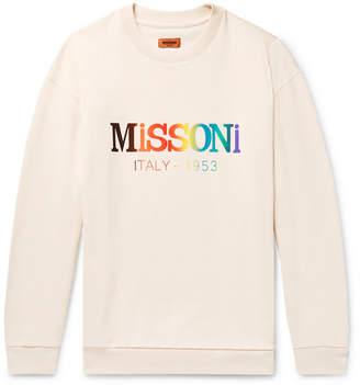 Missoni Logo-Print Loopback Cotton-Jersey Sweatshirt - Men - Cream