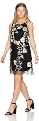 Sandra Darren Women's Petite 1 Pc Sleeveless Embroidered Mesh Trapeze Dress