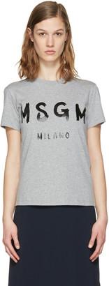 MSGM Grey Drawn Logo T-Shirt $105 thestylecure.com
