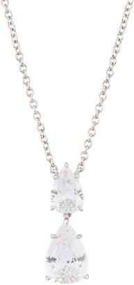 FANTASIA Double Pear-Drop CZ Crystal Pendant Necklace, White