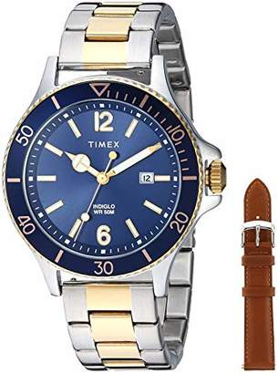 Timex Men's TWG019600 Harborside Two-Tone/Blue Stainless Steel Bracelet Watch Gift Set + Tan Genuine Leather Strap