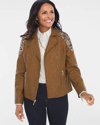 Chico's Faux-Leather Jacquard Moto Jacket