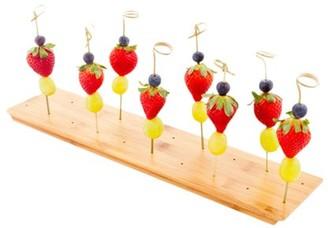 "Restaurantware Rectangle Natural Bamboo Skewer Holder - 20 holes, Reversible - 16 1/2"" x 3 3/4"" x 1"" - 1 count box"