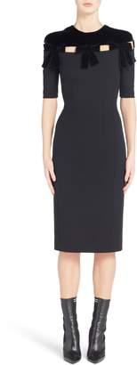 Fendi Velvet Bow Detail Stretch Dress