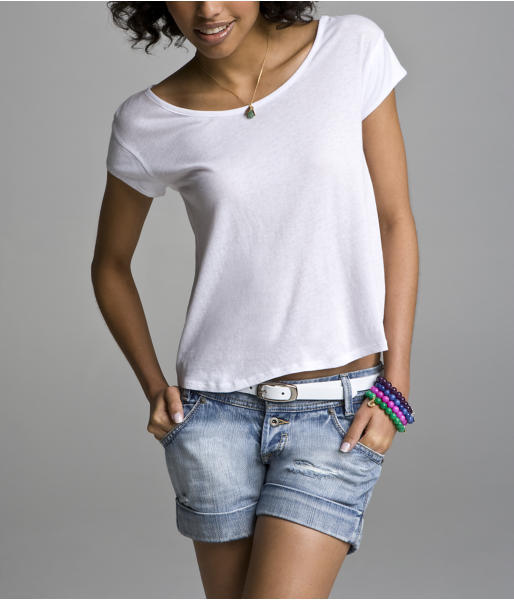 Cropped Scoop-Neck Tee