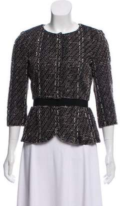 Giambattista Valli Collarless Textured Knit Blazer