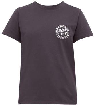 A.P.C. Logo Roundel Cotton Jersey T Shirt - Womens - Navy