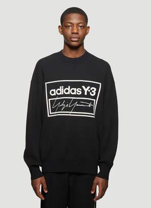 Y-3 Y 3 Logo Ribbed Knit Crew Neck Sweater