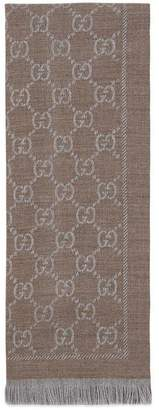 Gucci GG jacquard pattern knitted scarf