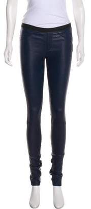 Helmut Lang Leather Mid-Rise Leggings
