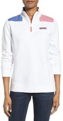 Women's Vineyard Vines Shep American Flag Quarter Zip Pullover $125 thestylecure.com
