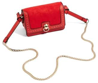 Topshop Panther Studded Faux Leather Crossbody Bag