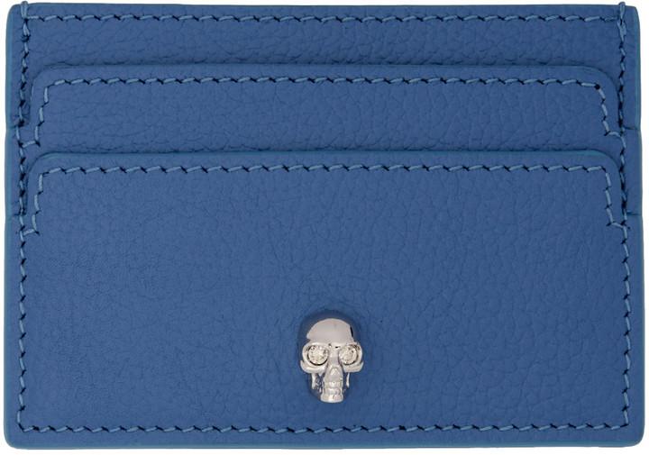 Alexander McQueenAlexander McQueen Blue Skull Card Holder