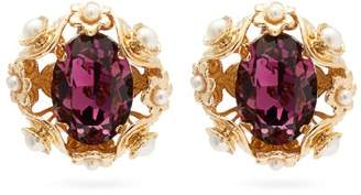 Dolce & Gabbana Crystal And Faux Pearl Clip Earrings - Womens - Purple