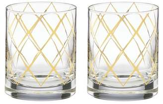Kate Spade Gold Trellis Old Fashioned Glass - Set Of 2