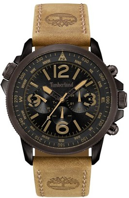 Timberland 'Campton' Multifunction Leather Strap Watch, 53Mm $239 thestylecure.com