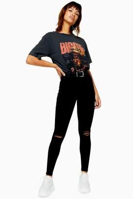 Topshop Womens Black Rip Belt Loop Joni Jeans - Black