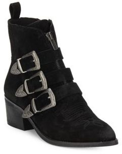 Scott Three-Buckle Leather Ankle Boots $200 thestylecure.com