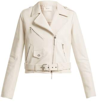 The Row Perlin Leather Biker Jacket - Womens - White