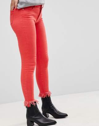 Only Coloured Skinny Jean With Frayed Hem