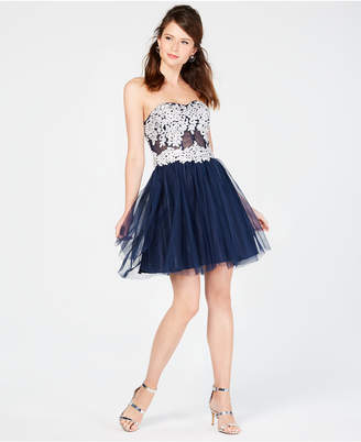 Sequin Hearts Juniors' Strapless Lace-Up Fit & Flare Dress