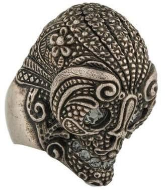 Alexander McQueen Crystal Lace Skull Ring