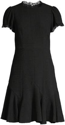 Rebecca Taylor Lace-Trim Sleeveless Tweed A-Line Dress